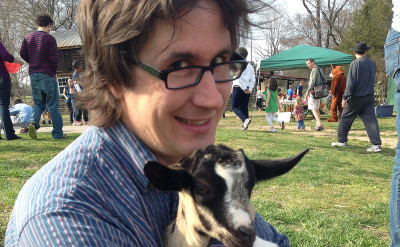 The goatman cometh: Darnielle with friend. Photo by John Darnielle.