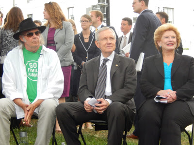 Neil Young, Senator Harry Reid and Senator Debbie Stabenow  at a press conference today on Capitol Hill in Washington, DC last week.